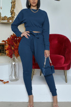 Navy Blue Fashion Casual Adult Polyester Solid Split Joint O Neck Long Sleeve Regular Sleeve Short Two Pieces