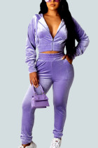 purple Sexy Polyester Gradual Change Solid Split Joint Hooded Collar Long Sleeve Regular Sleeve Short Two Pieces