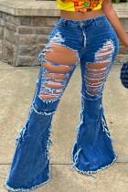 Blue Fashion Casual Adult Solid Ripped Mid Waist Boot Cut Denim
