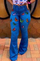Dark Blue Sexy Embroidery Embroidered High Waist Boot Cut Denim