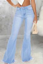 Baby Blue Fashion Sexy Solid Pants High Waist Boot Cut Denim