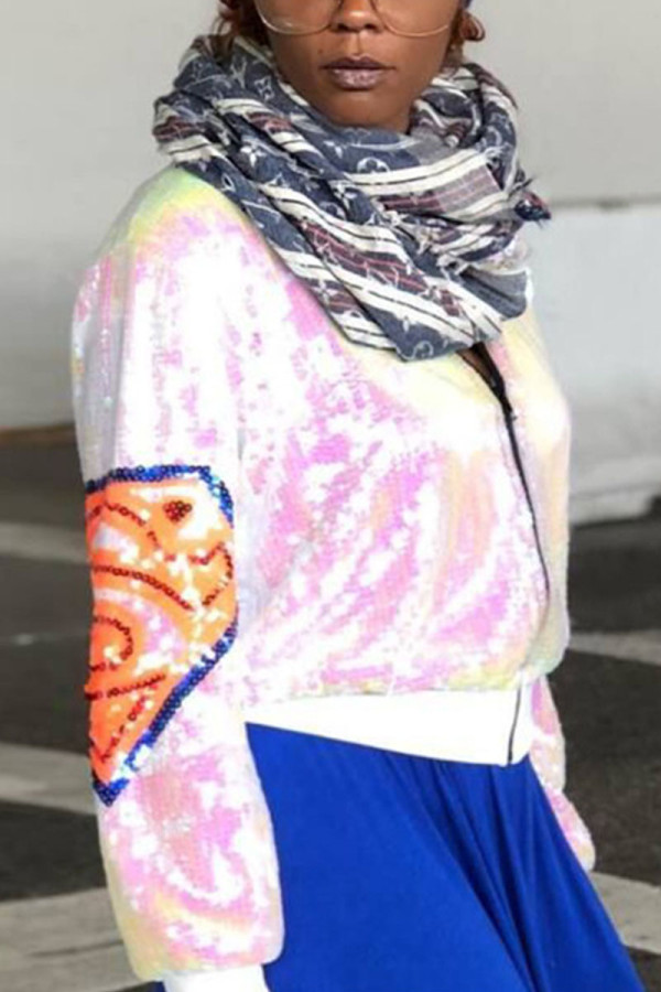 White Fashion Street Adult Print Split Joint Cardigan Conventional Collar Plus Size