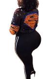 Black Fashion Street Adult Print Split Joint Cardigan Conventional Collar Plus Size