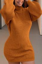 Orange Fashion Celebrities Adult Polyester Solid Pullovers Turtleneck Long Sleeve Knee Length Pencil Skirt Dresses