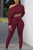 Wine Red Solid Split Joint Oblique Collar Two Pieces