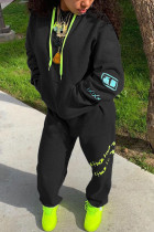 Black Sportswear Polyester Solid Split Joint Hooded Collar Long Sleeve Regular Sleeve Regular Two Pieces