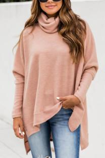 Pink British Style Solid Slit Turtleneck Tops