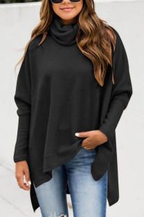 Black British Style Solid Slit Turtleneck Tops
