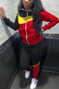 Black and red Casual Sportswear Solid Split Joint Turndown Collar Long Sleeve Two Pieces