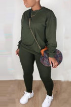 Army Green Casual Solid O Neck Long Sleeve Two Pieces