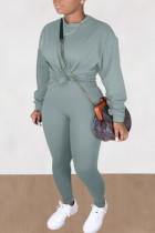 Gray Blue Casual Solid O Neck Long Sleeve Two Pieces