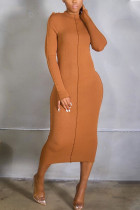 Brown Casual Solid Split Joint Flounce O Neck Pencil Skirt Dresses