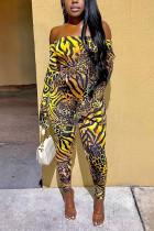 Leopard print Fashion Sexy Print Backless Bateau Neck Skinny Jumpsuits
