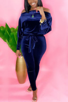 Blue Casual Solid With Belt Bateau Neck Skinny Jumpsuits