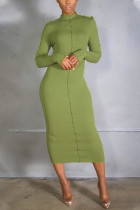 Green Casual Solid Split Joint Flounce O Neck Pencil Skirt Dresses