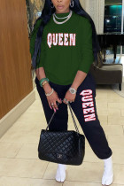 Army Green Fashion Casual Letter Print Letter O Neck Long Sleeve Two Pieces