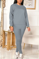 Grey Sexy Solid Split Joint O Neck Long Sleeve Two Pieces