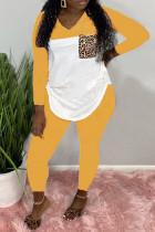 Yellow Fashion Casual Patchwork Split Joint O Neck Plus Size Set
