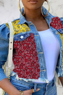Red Yellow Sexy Print Split Joint Turndown Collar Outerwear