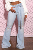 Light Blue Fashion Casual Solid With Belt Mid Waist Boot Cut Jeans