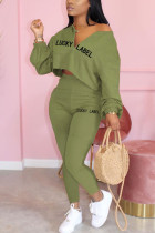 Army Green Casual Solid Embroidered O Neck Long Sleeve Two Pieces