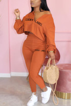 Orange Casual Solid Embroidered O Neck Long Sleeve Two Pieces