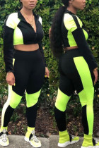 Green Sexy Sportswear Solid Split Joint O Neck Long Sleeve Two Pieces