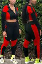 Red Sexy Sportswear Solid Split Joint O Neck Long Sleeve Two Pieces