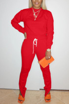 Red Sweet Solid Split Joint O Neck Long Sleeve Two Pieces