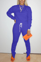 Blue Sweet Solid Split Joint O Neck Long Sleeve Two Pieces
