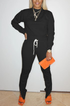 Black Sweet Solid Split Joint O Neck Long Sleeve Two Pieces