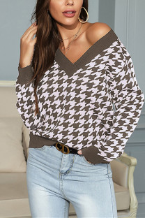 Light Coffee Fashion Casual Patchwork Basic V Neck Tops