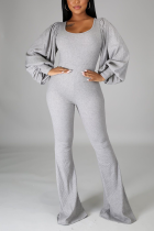 Grey Casual Solid Split Joint Square Collar Boot Cut Jumpsuits