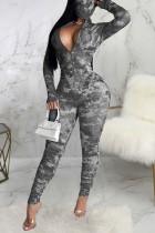 Black Sexy Print Tie-dye O Neck Regular Jumpsuits