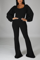 Black Casual Solid Split Joint Square Collar Boot Cut Jumpsuits