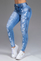 Baby Blue Fashion Casual Solid Ripped Mid Waist Skinny Jeans