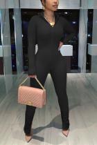 Black Fashion Casual Solid Basic V Neck Skinny Jumpsuits