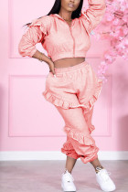 Pink Sexy Solid Split Joint Zipper Collar Long Sleeve Two Pieces