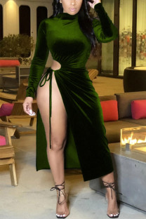Green Sexy Solid Slit O Neck Pencil Skirt Dresses