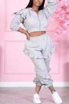Grey Sexy Solid Split Joint Zipper Collar Long Sleeve Two Pieces