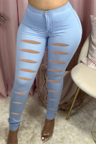 Light Blue Fashion Casual Solid Ripped Skinny Jeans