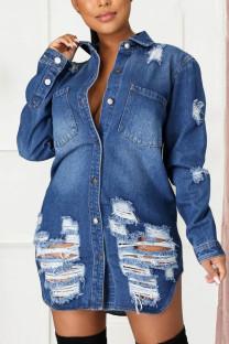 Blue Street Geometric Turndown Collar Outerwear