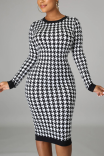 Black Casual Plaid Hollowed Out O Neck Wrapped Skirt Dresses