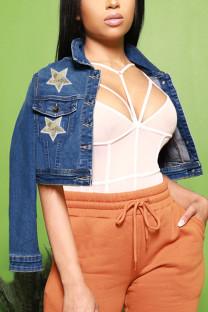 Deep Blue Street Print Sequins Turndown Collar Outerwear