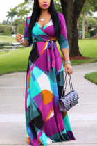 Colour Casual Print Split Joint Frenulum V Neck Dresses