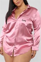 Pink Fashion Sexy Solid Lapel Long Sleeve Nightdress