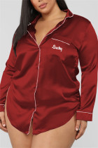 Wine Red Fashion Sexy Solid Lapel Long Sleeve Nightdress