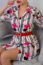 Stripe Casual Print Shirt Collar Tops