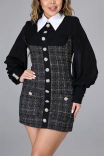 Black Sweet Patchwork Buttons Turndown Collar A Line Dresses