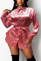 Pink Fashion Casual Print Basic Turndown Collar Tops